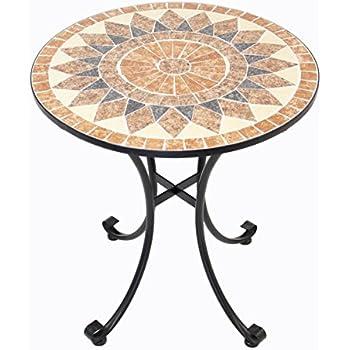 Gartentisch rund mosaik  Amazon.de: Hochwertiger, massiver Metall-Tisch