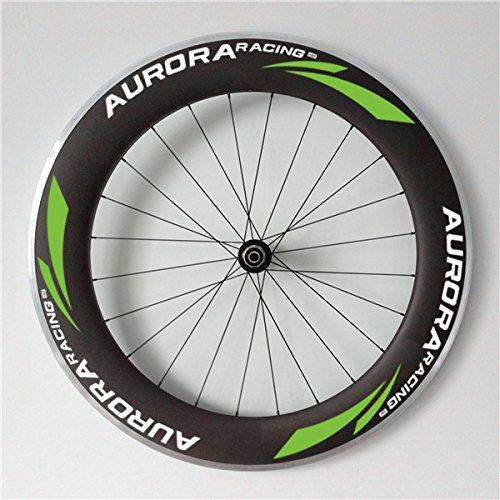 Aurora Racing 80mm tief 23mm Breite Drahtreifen Triathlons/Road Bike Carbon Laufradsatz alloybrake Oberfläche 20/24Löcher, 25mm (Carbon Road Racing Bike)