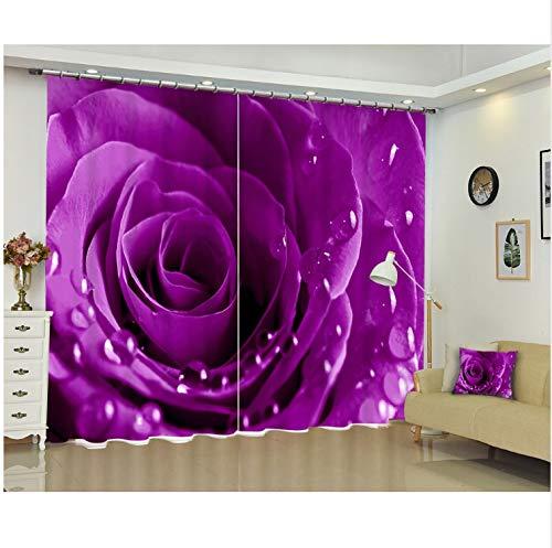 Ten-tailed fox Purple Rose Luxus Moderne 3D Blackout Fenster Vorhänge Vorhänge Für Wohnzimmer Schlafzimmer Büro Hotel Wandteppich Cortinas H240 * W340 cm
