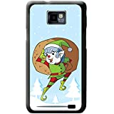 Babbo Natale Fun & Frolics cover/custodia rigida per cellulari Samsung, PLASTICA, Cheeky Elf With Bag Of Gifts, Samsung Galaxy S2 (i9100)