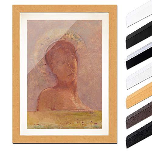 Bild mit Rahmen - Odilon Redon Mit geschlossenen Augen 60x80cm ca. A1 - Gerahmter Kunstdruck inkl. Galerie Passepartout Alte Meister - Rahmen buche -