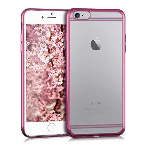 kwmobile Hülle für Apple iPhone 6 Plus / 6S Plus - Crystal Case Handy Schutzhülle TPU Silikon - Backcover Cover klar Rahmen galvanisiert Design Gold Transparent Rahmen Pink Transparent