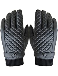 Oblique grid Style Man Gloves - SODIAL(R)1 Pair Men Winter Thermal Waterproof Bike Bicycle Cycling Touch Screen Sports Gloves, Black Oblique grid