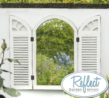 ReflectTM Antiker Gartenspiegel aus Echtglas mit Fensterläden, 70cm x 45cm