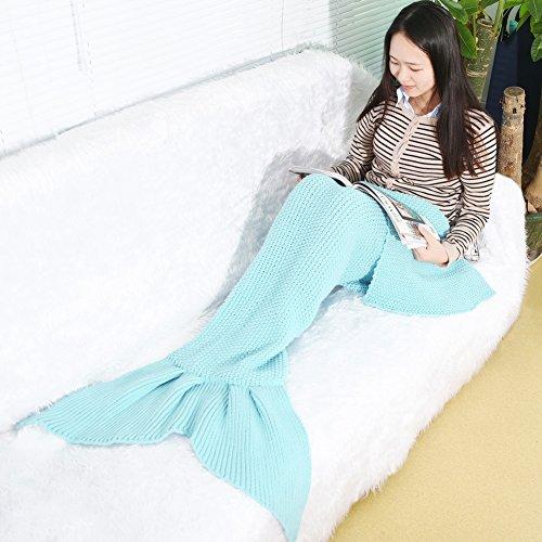 Yowao Mädchen-Meerjungfrau-Endstück-Decke, handgemachte strickende Decke für Kinder, alle Jahreszeit-Schlafsack 180 x 80 cm