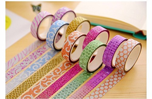 ACTC Colourful Decorative Adhesive Glitter Craft Tape Rolls, Length 3m Each, Set of 10 (Designs As Per Availability)  available at amazon for Rs.189