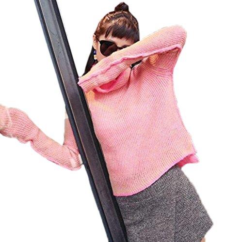Smile YKK Pull Automne Hiver Femme Sweat Manche Longue Col Roulé Sweat-shirt Chauffant Chic Rose
