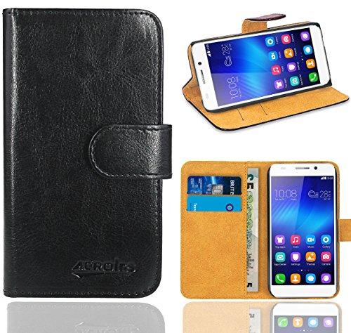 Huawei Honor 6 Handy Tasche, FoneExpert® Wallet Case Flip Cover Hüllen Etui Ledertasche Lederhülle Premium Schutzhülle für Huawei Honor 6 (Schwarz)