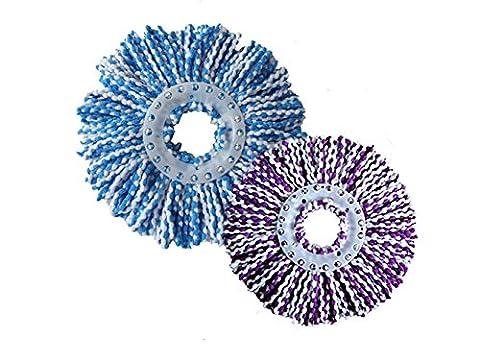 Meiwash 360° Rotation Tête de balai humide, Superfine Fibre de nettoyage de remplacement Serpillère recharge pour maison et voiture (Violet + Bleu)