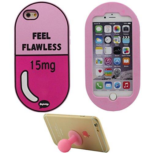 iPhone 6S Plus Hülle Case Stoßfest Hübsch Rosa Pille Entwurf Beliebt Weich Silikon TPU Gel Schutzhülle für Apple iPhone 6 Plus 6S Plus 5.5 inch mit 1 Silikon Halter Kickstand rosa-1