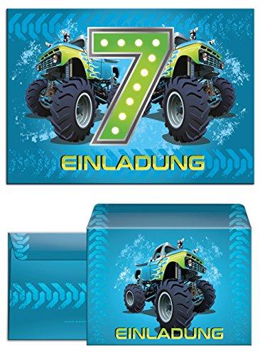12 Einladungskarten für Jungen incl. 12 Umschläge zum 7. Kindergeburtstag Monstertruck blau / Monster-Truck / Auto / Bunte Einladungen zum Geburtstag für Jungen (12 Karten + 12 Umschläge)