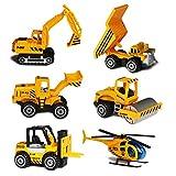 Fahrzeugset Mini Baufahrzeuge Autos Modelle Geschenkset für Kinder Jungen,6-er Pack