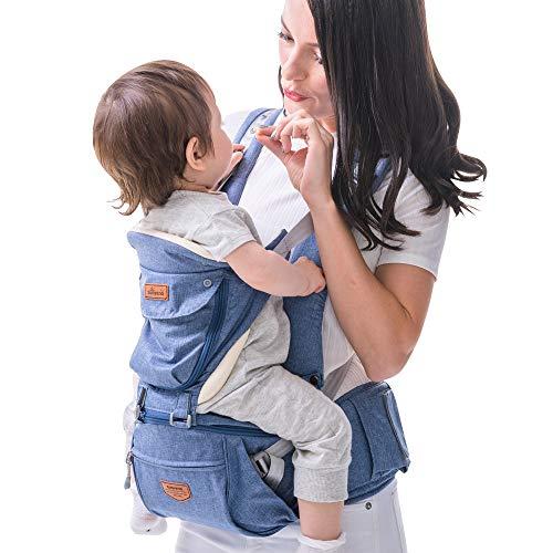 Porte-bébé avec Hipseat amovible et capuche, Sunveno ergonomique avant et arrière Porte-bébé...