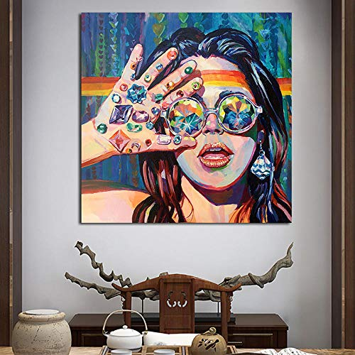HXQQ Sehen Ist Pop Art Malerei Moderne Mädchen Bilder Leinwand Wandkunst Grafik Poster und Drucke Dekor Für Schlafzimmer 70x70 cm Kein Rahmen