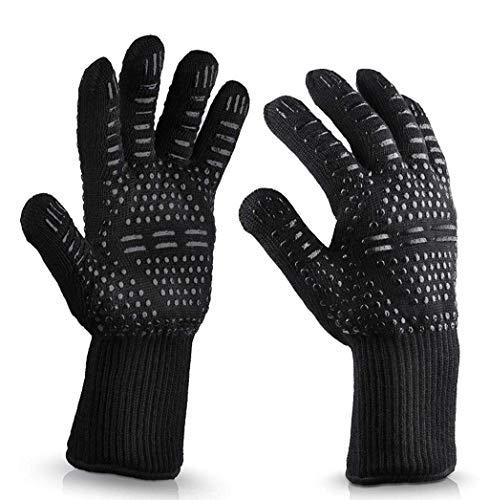 QTQZ BBQ-Handschuhe, Rutschfeste, Hochtemperaturbeständige Rutschfeste Silikonhandgelenk-Sicherheitshandschuhe Für BAU, Outdoor, Gartenarbeit, Angeln