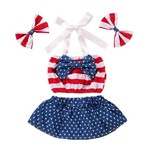 Unisex Kinderbekleidung,ODRD Clearance Sale Infant Baby 4th of July Stern Patriotische gestreifte Bow Tops Shorts + Stirnband Outfits Kinder Kleinkind Kleidung Body Babyschlafsack Kleinkind Sommer (Infant Kleidung Clearance)