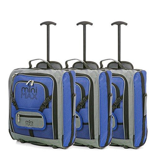 Sets von MiniMAX Kinder/Kindergepäck Carry On Trolley-Koffer mit Rucksack und Tasche für Ihre Lieblingspuppe/Action-Figur/Bear (3 x Blau)