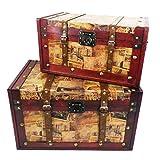 Gifts & Treats UK Set de 2de Madera baúl de Almacenamiento Set–Ideas de Regalo para Navidad, cumpleaños, Caja de Juguetes, Caja de Manta
