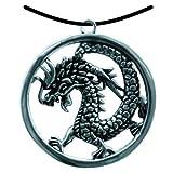 BestSaller 1093 Ritter Kette Chinesischer Drache im Ring, Schmuckanhänger, silber (1 Stück)