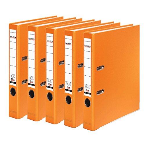 Falken PP-Color Kunststoff-Ordner 5 cm schmal DIN A4 orange 5er Pack Ringordner Aktenordner Briefordner Büroordner Plastikordner Schlitzordner