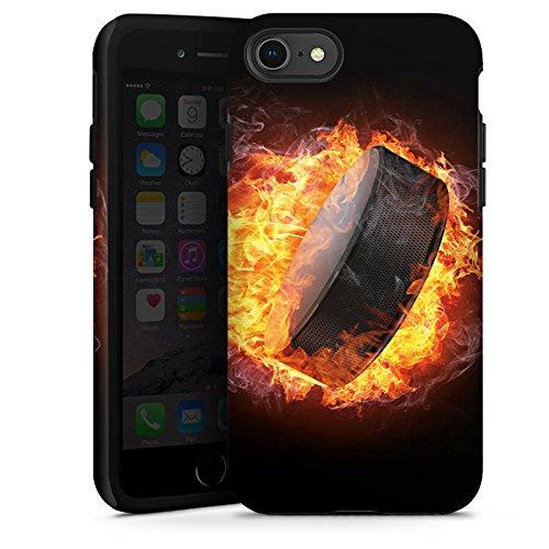 DeinDesign Outdoor Hülle kompatibel mit Apple iPhone 8 Panzer Case Schutzhülle Stoßfest Eishockey Flammen Slapshot