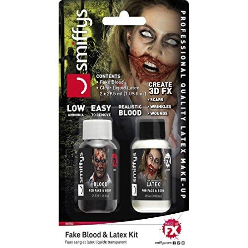 NET TOYS Zombie Schminkset mit Flüssiglatex u. Kunstblut 30ml Fake Blut & Latexmilch Halloween Make Up