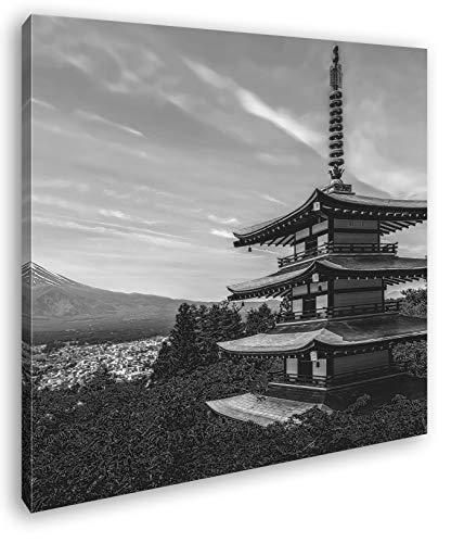 deyoli Tempel in Japan Format: 60x60 Effekt: Schwarz&Weiß als Leinwandbild, Motiv fertig gerahmt auf Echtholzrahmen, Hochwertiger Digitaldruck mit Rahmen, Kein Poster oder Plakat
