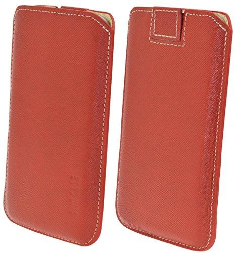 Original Suncase ECHTLEDER Etui Tasche für das iPhone X *Ultra Slim* Handytasche Ledertasche Schutzhülle Case Hülle (mit Rückzuglasche) schwarz mit blauen Nähten vollnarbig rot