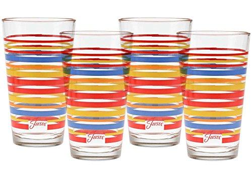 Fiesta 816-032Schiefer Salbei Collection Streifen konisch Kühler Glas (Set von 4), 16oz, multicolor Scarlet Lapis -