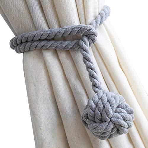 Do4U Ein Paar Hand Stricken Vorhang Seil Clips Halter Holdbacks Vorhang Raffhalter mit Einzelkugel (Grau)
