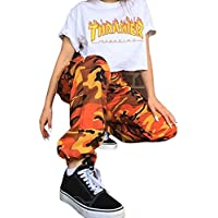 Pantalone,LILICAT® Pantalones largos flojos 2018 Fashion Camo Cargo Pantalones casuales de camuflaje al aire libre (S, Naranja)