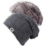 Chalier 2er Slouch Beanie Mütze Damen Herren, Warme Winter Strickmütze mit Fleece Innenfutter Unisex Wintermütze - Khaki+Grau (B Set) - Einheitsgröße