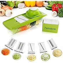 Gemüsehobel Rostfreiem Stahl Mandoline Gemüseschneider von Baban,5 in 1 Profi-Mandoline Gemüsereibe Abnehmbar, Kartoffelschneider- Manuelle Essen Slicer-Obstschneider-Pflanzliche Slicer, eine Pus