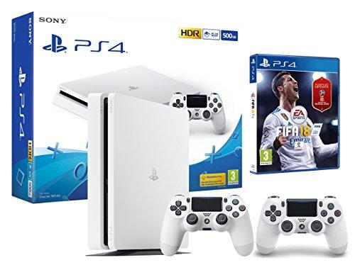 PS4 Slim 500Go Blanche Playstation 4 - FIFA 18 + 2 Manettes Dualshock 4