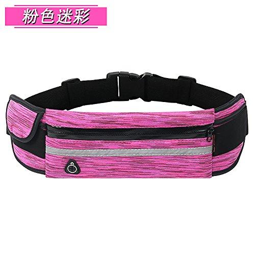 KANG@ Sport Taille Pack Multifunktions Running Männer und Frauen Outdoor Handy Tasche Anti-Diebstahl intime Stealth wasserdicht Beutel Pink Camo