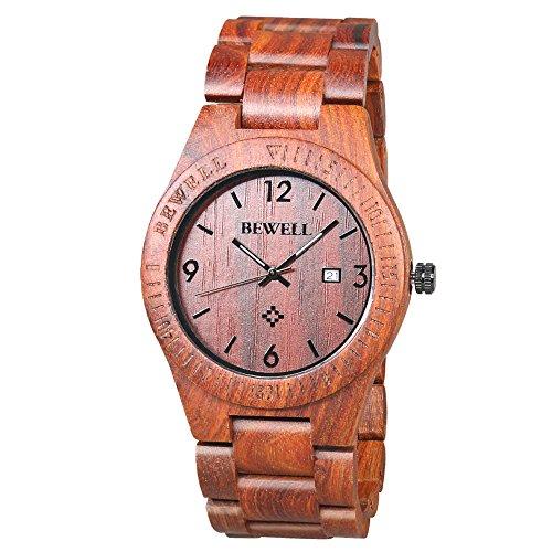 BEWELL Orologio Legno Uomo Orologi da Polso Wood Watch (Rosso)