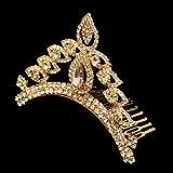 Sanjog Traditional Princess Golden American Diamond Crown Hair band/Hair Comb For Kids/Women