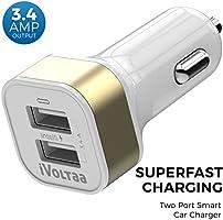 iVoltaa 3.4A Dual Port Car Charger  - White