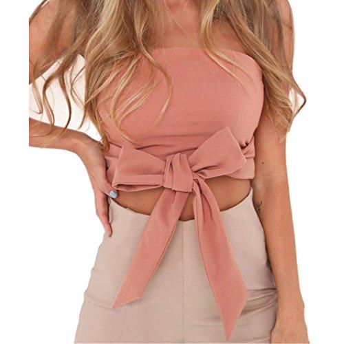 WOCACHI Damen Sommer Ärmellos Tops Mode Frauen Sommer Verband Bluse  Reizvolles weg von der Schulter Bowknot