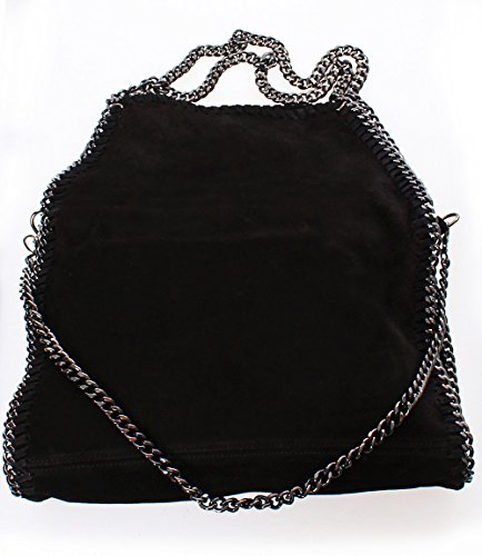 italy-luxury-bella-stella-womens-chain-genuine-leather-suede-black