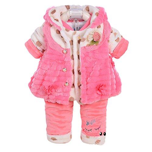 M&A Baby Flanell Winterjacke Set 3tlg, Pink, Gr. 6-12 Monate, ( Hersteller Größe: 8)
