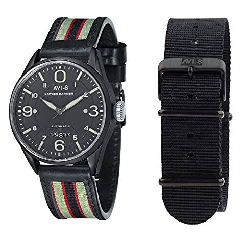 AVI-8 Hawker Harrier II Men's Automatic Watch with Army Green Dial Analogue Display and Multicolour Leather Strap AV-4040-06