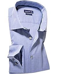 Jacques Britt Herren Hemd Kent Baumwolle Oberhemd Gemustert, Größe: 43, Farbe: Blau