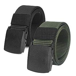 Chalier 2 Pacchi Cintura Tattica in Tela in Stile Militare da Uomo, 1.5″ Tessuto in Nylon Cintura con Fibbia