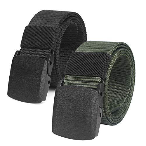 2er Unisex Gürtel Nylon Canvas Belt für Damen und Herren, Stufenlos Verstellbarer Stoffgürtel, Länge 130 cm, Breite ca. 3,8 cm, mit Kunststoff Schnalle MEHRWEG