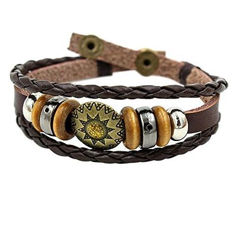 Wild Wind (TM) Christmas Tibet Plate Amulet Retro Beads Multi Braided Adjustable Snap Wrap Bracelet by