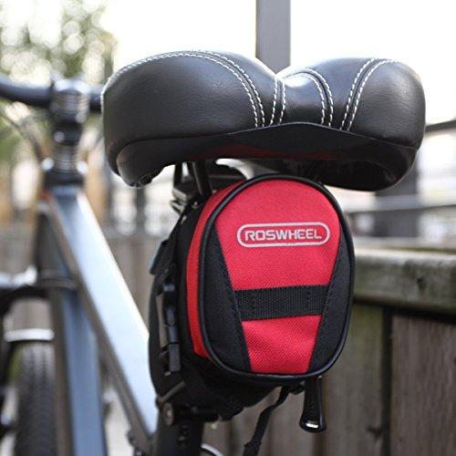 Roswheel Fahrrad Satteltasche Bike Bag Rahmentasche Fahrradtasche Oberrohrtasche Schwarz für Rennrad Mountainbike Handy Wertsachen Schwarz/Rote