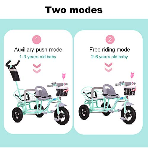 CHEERALL Children'S Double Tricycle Bicycle,Twin Baby Stroller With Folding Pedal,Summer Baby Pushchair Double Seat Buggy for Kids Age 1-6 Years Old,Pink