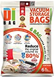 DIBAG ® 6 Space Saver Vacuum Storage Bags - Premium Travel Space Bags - Bag Size: 100 X 80cm - Double Sealed Compression Plastic Bags For Clothing Storage, Bedding & Packing