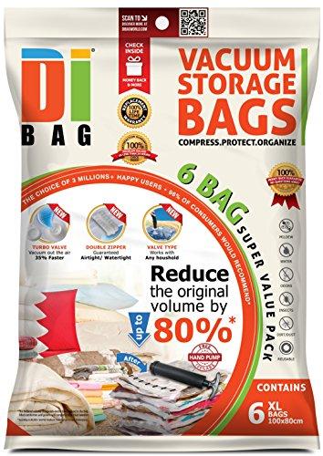 Dibag - sacchetti sottovuoto salvaspazio per abiti da viaggio - 6 x 100x80 cm - 2x buste di plastica sigillati per la conservazione per vestiti , biancheria , piumoni, coperte , lenzuola , cuscini .